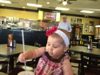 Phoebe's Great-Grandparents treat her to a yummy lunch at Jason's Deli.