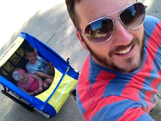 Deacon, Phoebe and Daddy go for a bike ride in the nice weather we're having.