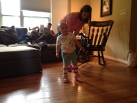 Phoebe walks during Physical Therapy at home on Monday